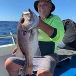 Old Man showing a Big Snapper Fish in Autumn 2019