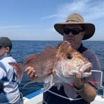 In Autumn 2019 Man showing a Big Snapper Fish